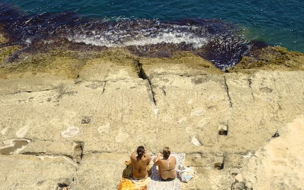 Malta Rocky Beach in Valletta
