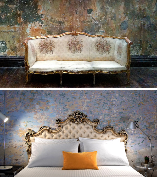 The Therapy Room from The King's Speech and (below) the bedroom at Lucia Nova