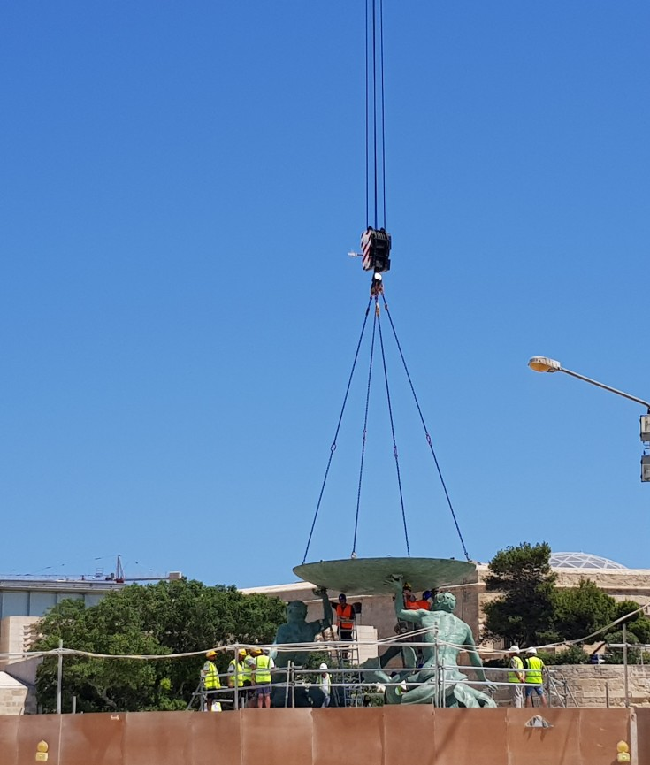 The restoration of the Triton Fountain in Valletta
